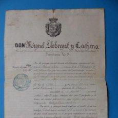 Militaria: DOCUMENTO DE LICENCIA ABSOLUTA DEL SERVICIO, BATALLON CAZADORES DE BARCELONA - ONTENIENTE - AÑO 1854. Lote 128950807