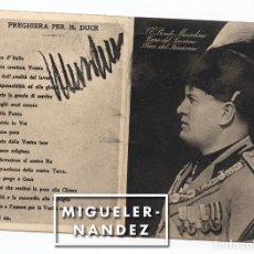 Militaria: BENITO MUSSOLINI - DÍPTICO-TARJETA POSTAL ORACIÓN POR EL DUCE - 1934 - PREGHIERA PER IL DUCE. Lote 128992431