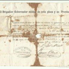 Militaria: INDULTO A SOLDADO CARLISTA DE EL CATLLAR CONCEDIDO POR GOBERNADOR MILITAR DE TARRAGONA 1875. Lote 128998211
