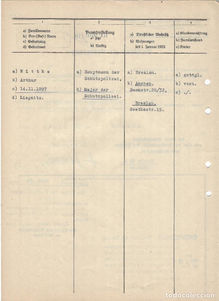 Militaria: HEINRICH HIMMLER, FIRMA MANUSCRITA EN TINTA DE PLUMA EN DOCUMENTO DE ASCENSO DE MAJOR DE LA SCHUPO - Foto 3 - 129127123