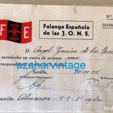 Militaria: GUERRA CIVIL - FALANGE : RECIBO CUOTA , FE DE LAS JONS . SEVILLA, 1936. Lote 129230699