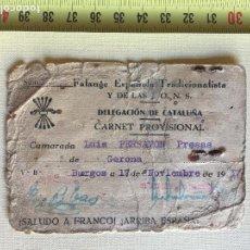 Militaria: FALANGE ESPAÑOLA, CARNET PROVISIONAL DELEGACIÓN DE CATALUÑA, BURGOS 1937. Lote 129350215