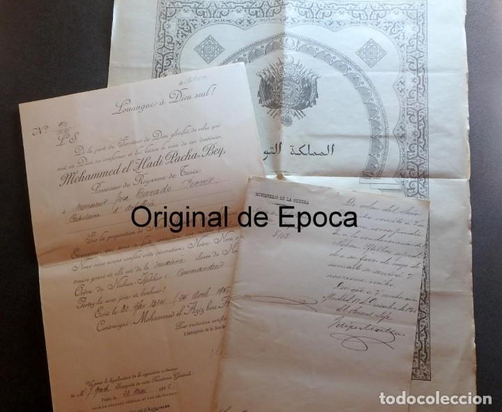 (JX-180803)NOTIFICACIÓN,CONCESIÓN Y DIPLOMA DE COMENDADOR DE LA ORDEN DE NICHAN IFTIKHAR,TUNEZ 1906 (Militar - Propaganda y Documentos)