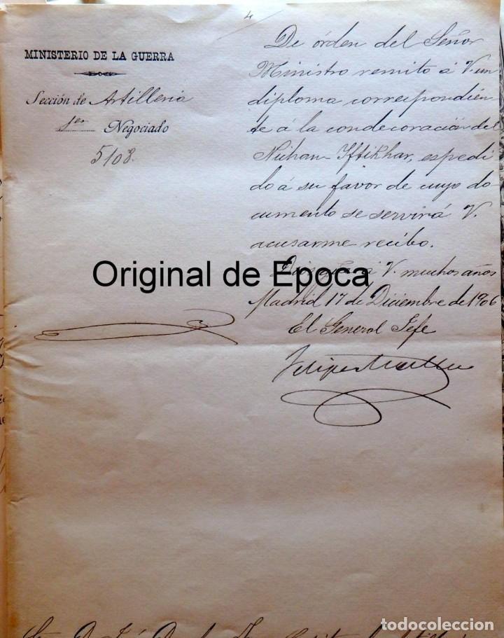 Militaria: (JX-180803)Notificación,concesión y diploma de Comendador de la Orden de Nichan Iftikhar,Tunez 1906 - Foto 2 - 129694703