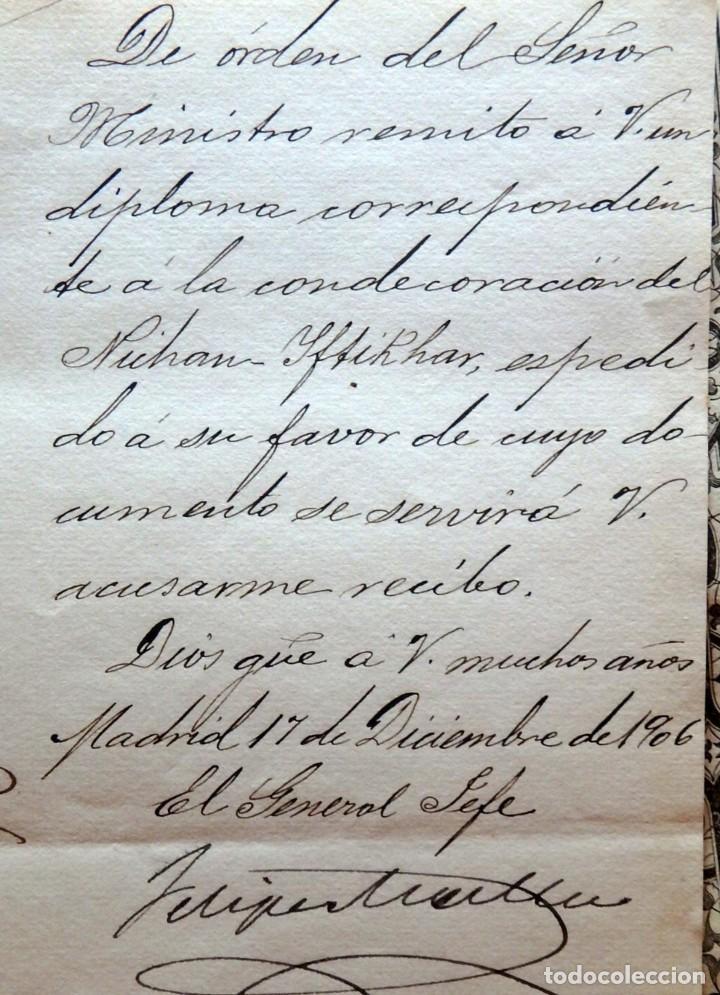 Militaria: (JX-180803)Notificación,concesión y diploma de Comendador de la Orden de Nichan Iftikhar,Tunez 1906 - Foto 3 - 129694703