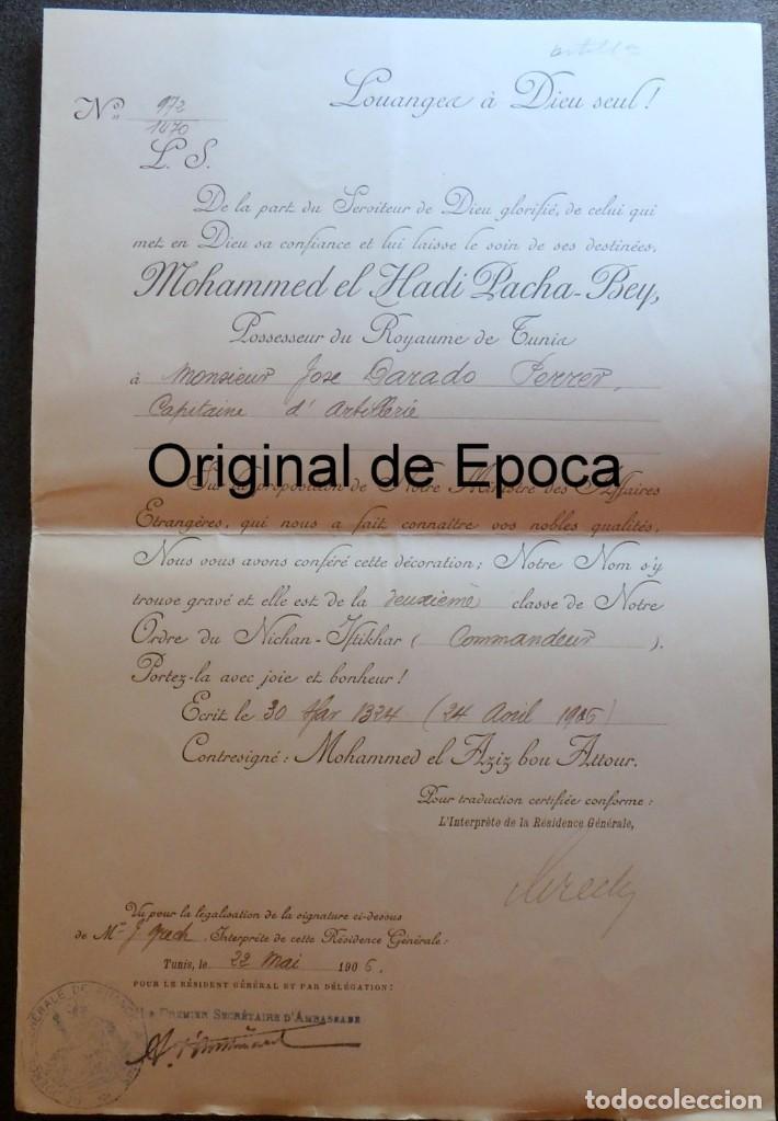 Militaria: (JX-180803)Notificación,concesión y diploma de Comendador de la Orden de Nichan Iftikhar,Tunez 1906 - Foto 5 - 129694703