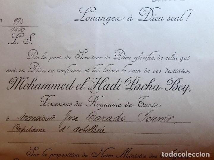 Militaria: (JX-180803)Notificación,concesión y diploma de Comendador de la Orden de Nichan Iftikhar,Tunez 1906 - Foto 6 - 129694703
