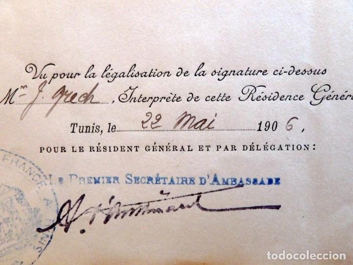 Militaria: (JX-180803)Notificación,concesión y diploma de Comendador de la Orden de Nichan Iftikhar,Tunez 1906 - Foto 9 - 129694703