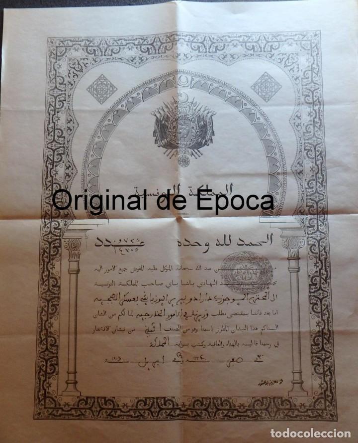 Militaria: (JX-180803)Notificación,concesión y diploma de Comendador de la Orden de Nichan Iftikhar,Tunez 1906 - Foto 10 - 129694703