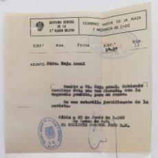 Militaria: DOCUMENTO TENIENTE CORONEL CAPITANIA GENERAL 2ª REGIO MILITAR - PLAZA Y PROVINCIA DE CÁDIZ AÑO 1968. Lote 131108652