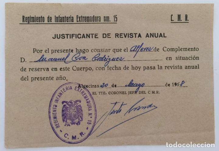 DOCUMENTO TENIENTE CORONEL REGIMIENTO INFANTERÍA EXTREMADURA N15 - ALFÉREZ - ALGECIRAS (CÁDIZ) 1968 (Militar - Propaganda y Documentos)