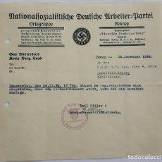 Militaria: NSDAP DOCUMENTO ORTSGRUPPE LENNEP 1938.. Lote 131119972
