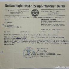 Militaria: NSDAP DOCUMENTO ORTSGRUPPE LENNEP 1937.. Lote 131120172