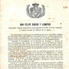 Militaria: BANDO. SANTO DOMINGO, REPUBLICA DOMINICANA. 1863. INDULTO Y EXCEPCION DE INDULTO. LEER. Lote 131323110