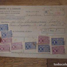 Militaria: ANTIGUA FICHA DE PLATO UNICO Y DIA SIN POSTRE DE BARCELONA. CON SELLOS VIÑETAS, ORIGINAL.. Lote 131418042