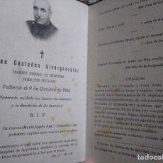 Militaria: RECORDATORIO ESQUELA TENIENTE CORONEL MUTILADO JUAN CASTAÑON ALVARGONZALEZ. 1942. ASTURIAS. Lote 131656958