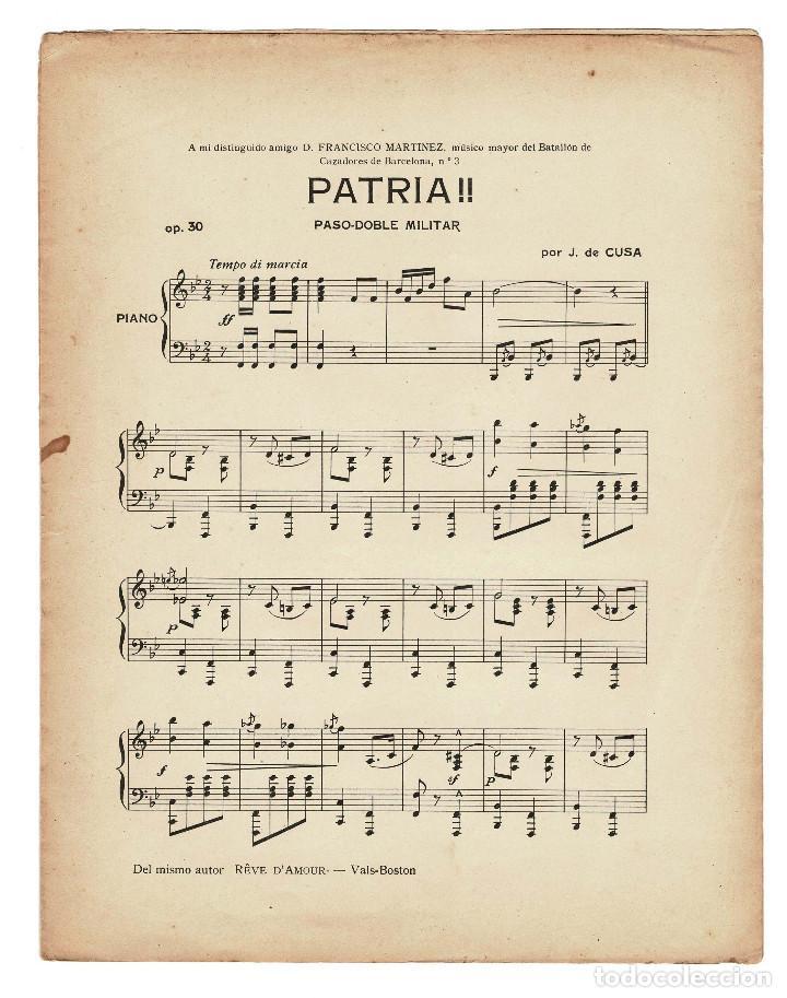 Militaria: Partitura Paso doble militar a piano Patria por J. de Cusa. 1910 - Foto 2 - 131926262