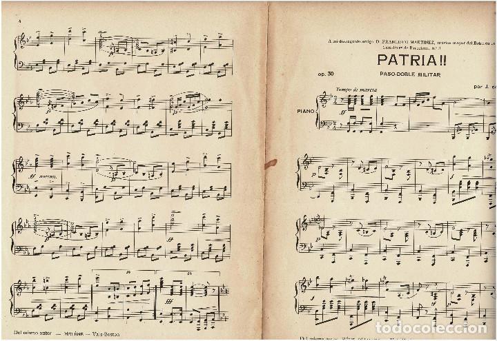 Militaria: Partitura Paso doble militar a piano Patria por J. de Cusa. 1910 - Foto 4 - 131926262
