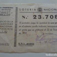 Militaria: VALENCIA. CONSEJO ADMINISTRATIVO DE BARBEROS. UGT CNT. GUERRA CIVIL. 1937. LOTERÍA, BENEF. SIA. Lote 132616890