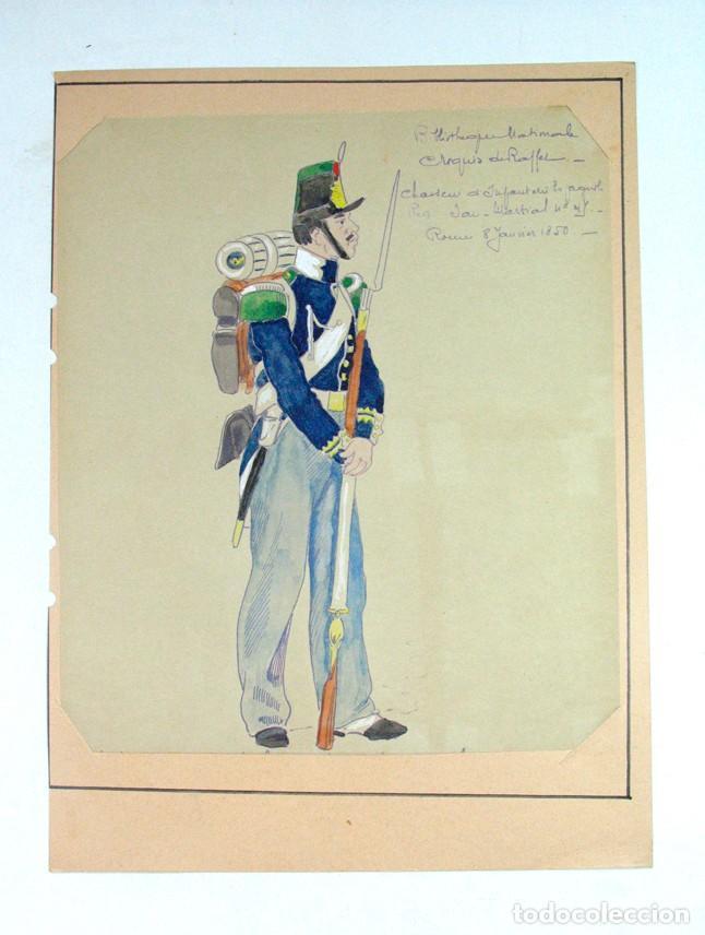 CAZADOR DE INFANTERIA ESPAÑOLA. REG SAN MARCIAL Nº 45. 1850. SIGLO XIX. ANTIGUA XEROGRAFIA ILUMINADA (Militar - Propaganda y Documentos)