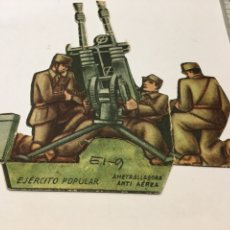 Militaria: RECORTABLE EJÉRCITO POPULAR AMETRALLADORA ANTI AÉREA GUERRA CIVIL 1936-1939. Lote 132814043