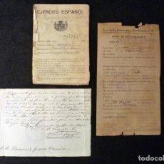 Militaria: DOCUMENTOS MILITARES. FICHA MOVILIZACIÓN, CARTILLA MILITAR Y REINCORPORACIÓN. REGULARES TETUAN 1930-. Lote 133367498