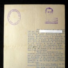 Militaria: PERMISO PARA EL REPARTO DE HARINA. DOS AGUAS (VALENCIA) 1939. Lote 133367886