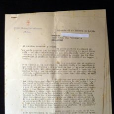Militaria: SEGUNDAS ELECCIONES MUNICIPALES 1951. CUESTIONES PREVIAS. JEFE PROVINCIAL MOVIMIENTO VALENCIA. POMBO. Lote 133368714