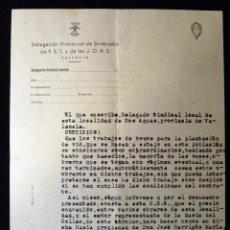 Militaria: CERTIFICADO SOBRE TRABAJOS DE PLANTACIÓN DE VID. DOS AGUAS (VALENCIA) 1947. FET JONS. FALANGE. Lote 133369310
