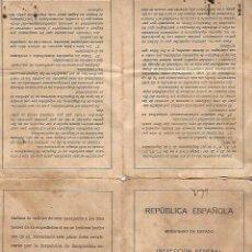 Militaria: PASAPORTE PARA CUBA MUJER DE VIGO. REPUBLICA ESPAÑOLA. EMIGRACION. FOTO, HUELLA Y SELLO . VER. Lote 133539978