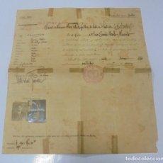 Militaria: REPUBLICA. PASAPORTE A CUBA DESDE SANTANDER PARA UN MATROMONIO. 1922. SELLOS, FOTOS. VER. Lote 133540946