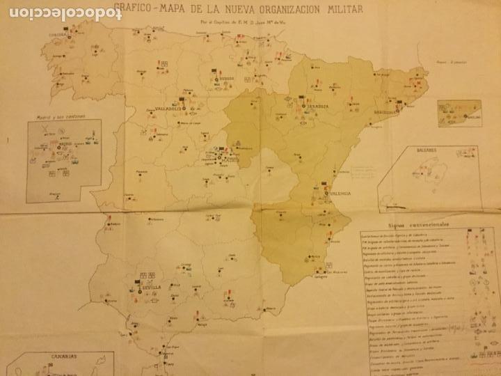 GRAFICO MAPA ORGANIZACION MILITAR CAPITAN DE E. M. D. JOSE Mª DE VIU MINISTERIO DE GUERRA AÑO 19 - - (Militar - Propaganda y Documentos)