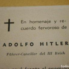 Militaria: ADOLFO HITLER, RECORDATORIO DE UN HOMENAJE Y RECUERDO CELEBRADO EN MURCIA, MIDE 6 X 10,5 CMS.. Lote 133907222