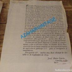 Militaria: 1809, REDUCCION DE TALLA ALISTAMIENTO DE MOZOS, 1 PAGINA. Lote 134436386
