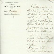 Militaria - Intendencia militar de la isla de Cuba, 18 de Diciembre de 1895 ( carpetilla con documento sellado) - 134504998
