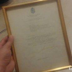 Militaria: CASA REAL JUAN CARLOS I DOCUMENTO ENMARCADO Y FIRMADO. Lote 135024750