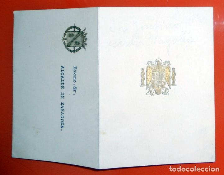 Tarjeta Oficial De Invitación Almuerzo Francisco Franco Zaragoza 1953 Alcalde Franquismo