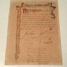 Militaria - Diploma recuerdo compañeros soldado en campos de Riff - Atlaten año 1922 - 135202342