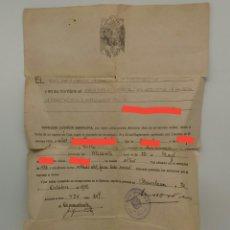 Militaria: LICENCIA ABSOLUTA POR HABER PERMANECIDO 18 AÑOS EN EL SERVICIO MILITAR, AÑO 1949, BARCELONA. Lote 135231150