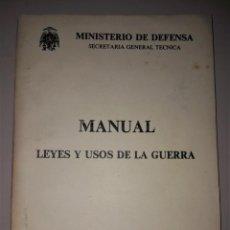 Militaria: MILITAR. MANUAL LEYES Y USOS DE LA GUERRA. MINISTERIO DE DEFENSA. Lote 135733335