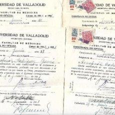 Militaria: CONJUNTO DE CUATRO DOCUMENTOS CON POLIZAS RARAS DE LA UNIVERSIDAD DE VALLADOLID DE 1951. Lote 135759410