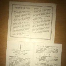 Militaria: ANTIGUAS ESQUELAS MILITARES CAÍDO POR DIOS Y ESPAÑA MOVIMIENTO NACIONAL GUERRA CIVIL INGENIEROS MIN. Lote 135778638