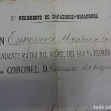 Militaria: 2º REGIMIENTO DE ZAPADORES-MINADORES. CERTIFICADO FIRMADO CORONEL. AÑO 1900. Lote 135803718