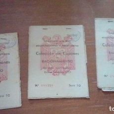 Militaria: CUPONES DE RACIONAMIENTO COLECCION DEL AÑO 1952 LOTE DE 3 CARTILLAS COMISIARIA DE ABASTECIMIENTOS . Lote 136283482