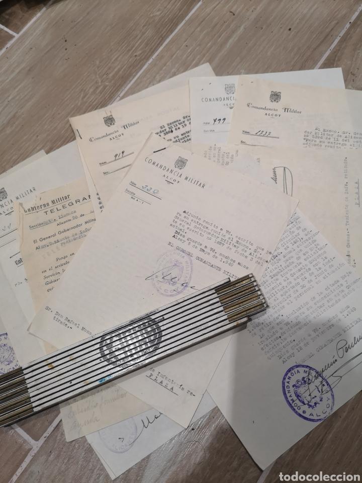 LOTE DE 12 DOCUMENTOS, COMANDANCIA MILTAR DE ALCOY, AÑOS 40-50, TELEGRAMAS, GOBIERNO MILITAR (Militar - Propaganda y Documentos)