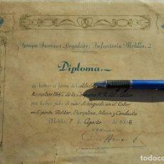 Militaria: DIPLOMA REGULARES DE MELILLA SOLDADO DISTINGUIDO . Lote 137225342