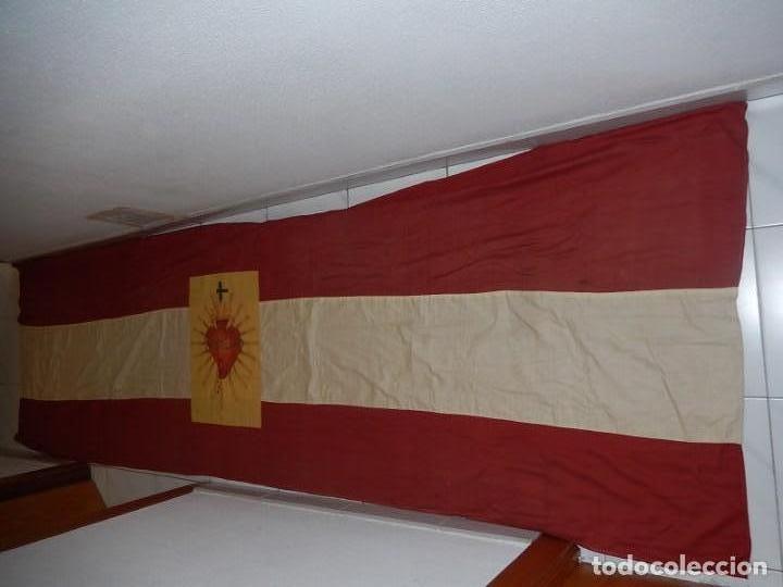 Militaria: Bandera patriótica de balcón. Sagrado Corazón. Guerra civil y Postguerra. - Foto 6 - 137226290