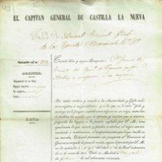 Militaria: PASAPORTE FIRMADO Y LIBRADO POR EL CONDE MIRASOL CAPITÁN GENERAL DE CASTILLA 1850. Lote 139438950
