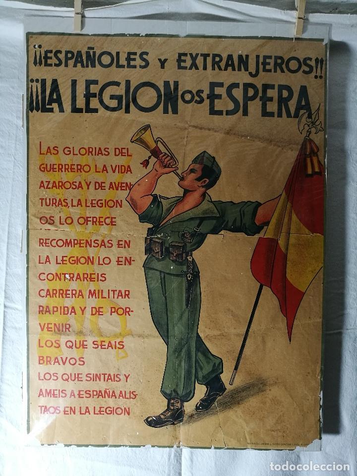 CARTEL DE LA LEGION GUERRA CIVIL--ORIGINAL !!!! IMPRESOR MARTIN I.G.ANCORA ..MADRID (Militar - Propaganda y Documentos)