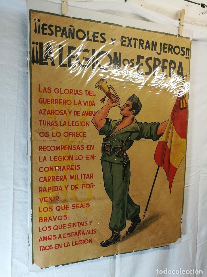 Militaria: cartel de La Legion Guerra Civil--ORIGINAL !!!! impresor martin i.g.ancora ..madrid - Foto 5 - 139454910